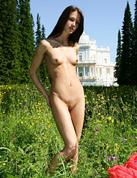 Model maria in meadow